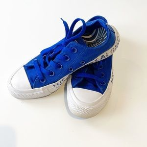 """Converse """"we are not alone"""" electric blue sneakers"""